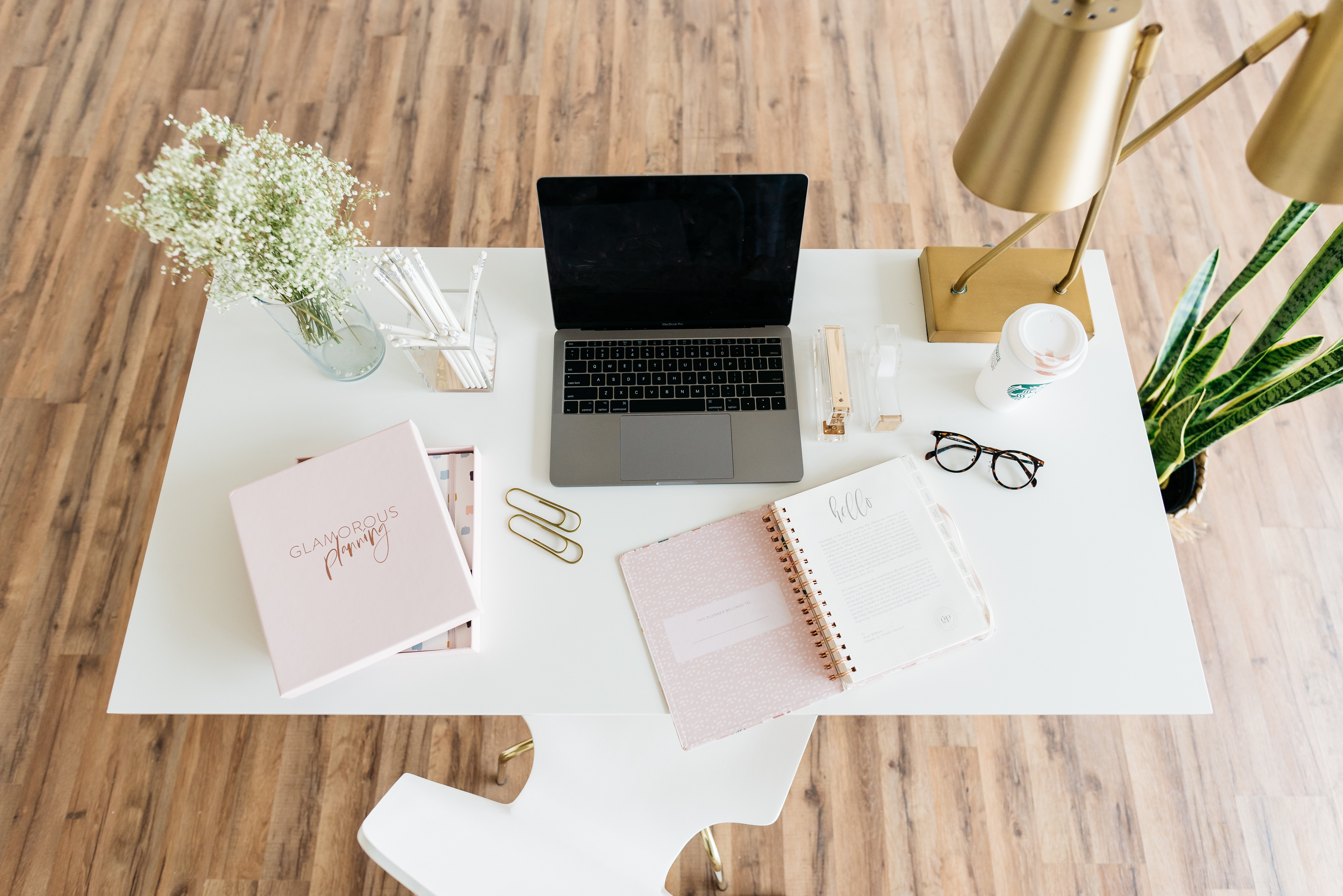 Busy woman's office and desk